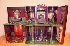 CUSTOM PAINTED OOAK MONSTER HIGH DOLL HOUSE IRIDESCENT MAGENTA CASTLE | eBay