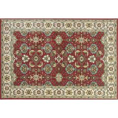 KAS Rugs Shiraz Mahal Framed Floral Rug, Dark Red