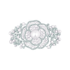 "Chanel - Les Perles de Chanel - ""Pluie de Camélia"" bracelet in white gold set with 28 emerald-cut diamonds with a total weight of 6.9 carats..."