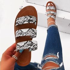 2019 women fashion wild beach shoes Snake totem three-layer non-slip outdoor slippers sandals flat bottom ladies slippers Two Strap Sandals, Cute Sandals, Cute Shoes, Summer Sandals, Outfit With Sandals, Women's Shoes Sandals, Fashion Sandals, Ankle Strap, Womens Slippers