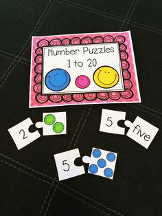 Students enjoy learning number recognition with these number puzzles. Students match the number to the number word and the number to the correct number of smiley faces. Numbers Kindergarten, Learning Numbers, Math Numbers, Fun Learning, Counting Games, Fun Math Games, Math Activities, Math Stations, Math Centers