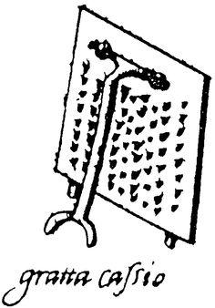 Cheese grater - Il Cuoco Segreto Di Papa Pio V (The Private Chef of Pope Pius V), by Bartolomeo Scappi, Venice, 1570.