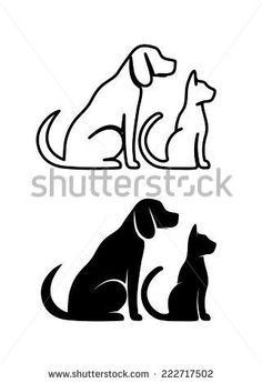 Dog Cat Silhouette Stock Photos,
