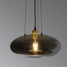 Type: Pendant lightColour: Smoke Glass with Brass Lamp CoverDimensions: Katara Diam.Drop: 1 x Melbourne, Sydney, Lighting Store, Home Lighting, Pendant Lighting, Chandelier, Brass Lamp, Led, Organic Shapes