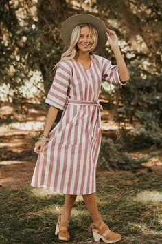 Joonie Stripe Dress in Magenta | ROOLEE