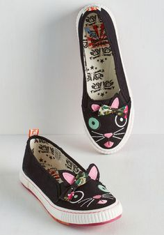 Animal Imprints Sneaker in Cat - Black, Solid, Novelty Print, Bows, Casual, Quirky, Cats, Better, Flat