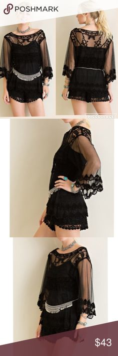 ARRIVAL! Crochet lace bell sleeved solid top Comes in two different bolts. Black and natural. This listing is for BLACK color. Great quality. Sheer. Lightweight. Fabric: 80% cotton, 20% nylon. Great summer top. Can be worn as a cover up also. Slip is not included. Pink Peplum Boutique Tops