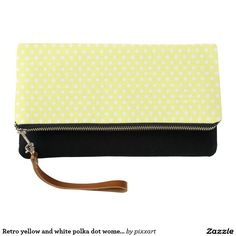 Retro yellow and white polka dot women's clutch