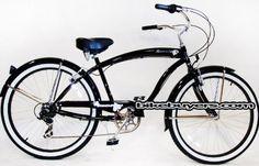 "Micargi Rover 7-speed 26"" for men (Glossy black), Beach Cruiser Bike Schwinn Nirve Firmstrong Style"