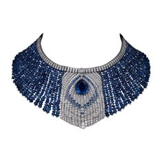 CARTIER   Necklace - platinum, one 22.44-carat pear-shaped sapphire, one 1.17-carat pear-shaped diamond, sapphire beads, sapphires, one baguette-cut diamond, pear-shaped diamonds, brilliant-cut diamonds.