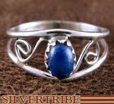 Navajo Indian Native American Sterling Silver And Lapis Ring Size 5 DS53112