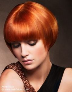 Very short sleek bob for red hair.