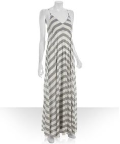 Wyatt heather grey stripe jersey maxi dress   BLUEFLY up to 70% off designer brands
