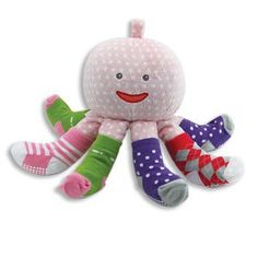 Mrs. Sock T. Pus Octopus Rattle-11 INCH/New Baby/Nursury/Gift/Baby Shower/Toy 11 Inches Tall. 4 Pairs of Baby Socks (size 0-6). Mrs. Sock-T-Pus is a Rattle as Well as a Plush Toy!. Perfect for a New Baby or Baby Shower Gift!. Pink Body Fabric.  #Kelli's_Gifts #Baby_Product