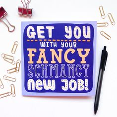 New Job Card Printed Funny Rude Hand Lettered Card Unisex / JosieGledhillDesign on Etsy