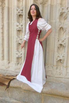 Vêtement moyen age -Surcot Tiphaine - Boutique médiévale Comptoir du château