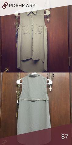 Green sheer blouse Super cute hi low tank Tops Blouses
