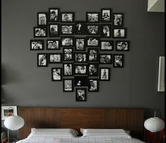 Picture frames in the shape of a heart