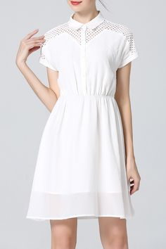 Sfeishow White Hollow Out Shirt Dress | Shirt Dresses at DEZZAL