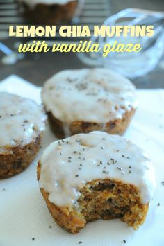 Lemon Chia Muffins with Vanilla Glaze - So delightfully delicious, it'll be hard to eat just one!