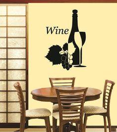 Decorative Wine Glass And Bottle Grape Leaves By OSoSplendid - Vinyl stickers for glass bottles