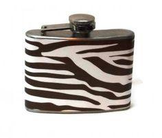 Stainless Steel Hip Flask with brown zebra stripe wrap - 4oz 6oz 2oz 1oz by GartersByLori for $20.00