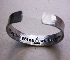 What we think we become, meditating Buddha and lotus flower, custom, secret message bracelet, yoga jewelry,inspirational quote bracelet