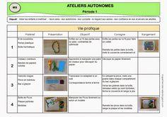 Ateliers autonomes type Montessori - Période 1 en MS Maria Montessori, Montessori Activities, Preschool Kindergarten, Home Schooling, Ms Gs, Reggio, Teaching Tips, Pre School, Kids Learning