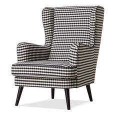 Black Fabric Armchair White Grey Seat Chair Cushion Furniture Living Room Legs
