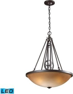 """Features  Made of metal and glass Includes cream glass shade Includes (3) 10 watt Medium (E26) LED bulbs Chain mounted fixture Capable of being dimmed UL rated for dry locations Covered under a 1 year limited manufacturer warrantyDimensions   Height: 26.0"""" Width: 20.0"""" Depth: 20"""" Product Weight: 12.0 lbs Chain Length: 36.0""""Electrical Specifications   Bulb Type: LED Bulb Base: Medium (E26) Number of Bulbs: 3 Bulbs Included: Yes Watts Per Bulb: 10 watts Wattage: 29 watts Voltage: 120 volts…"""