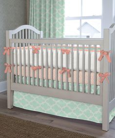 Mint Quatrefoil Crib Bumper | zulily. Perfect color combo! And in some glittery gold around the room for accent