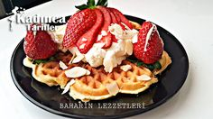 File Bademli Waffle Tarifi Waffles, Breakfast, Food, Whipped Cream, Morning Coffee, Meals, Waffle, Yemek, Morning Breakfast