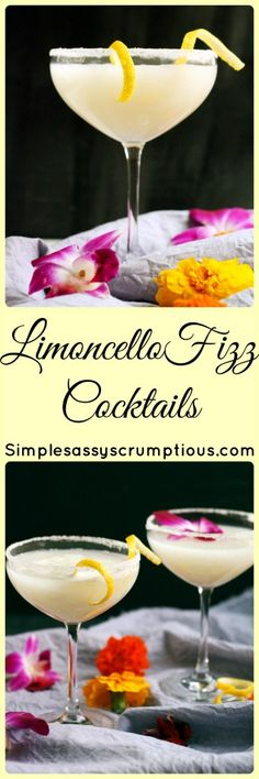 Crisp and refreshing Limocello Fizz cocktail made with tart Crema di Limoncello and chilled Prosecco. The perfect summer cocktail, both tart and sweet. Easy Drink Recipes, Best Cocktail Recipes, Punch Recipes, Alcohol Recipes, Wine Cocktails, Summer Cocktails, Cocktail Drinks, Party Drinks, Fun Drinks