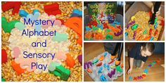We made a corn filled alphabet sensory bin to explore the book Alphabet Mystery by Audrey Wood. Alphabet Sensory Bins are a fun way to work on letter recognition! Alphabet Activities, Preschool Activities, Activities For Kids, Preschool Class, Alphabet Worksheets, Activity Ideas, Writing Activities, Sensory Bins, Sensory Play