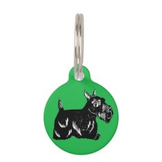 Scottie Dog with Green Custom Round Dog Tag; All tags are ready to customize on the back with your pet's name and your phone number!
