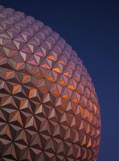 Spaceship Earth by Shane Hayes on Disney Parks, Walt Disney World, Spaceship Earth, Epcot, Dusk, Orlando, Orlando Florida