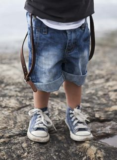 Boy's denim shorts and converse