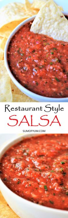 Restaurant Style Salsa - This homemade salsa is awesome! It is also so quick and easy to make… it takes only 5 minutes! It is similar to the salsa that is served in many Mexican restaurants but tastes better in my opinion. Recipe on sumofyum.com #easyrecipe #salsa #appetizer #cincodemayo #yummy #mexicanfood