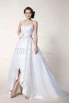 Stunning A-Line Asymmetry Hemline Sashes/Ribbons Wedding Dress