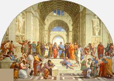 De School van Athene ~ 1509 ~ Fresco ~ Breedte aan de basis 770 cm. ~ Stanza della Segnatura, Musei Vaticani, Vaticaanstad