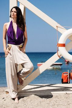 Purple drape bamboo top / Sand harrem bamboo pants with digitally printed pockets Fashion Forever, Designer Swimwear, Ss 15, Resort Wear, Ethical Fashion, Sustainable Fashion, Sustainability, Branding Design, Harem Pants