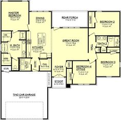 Traditional Style House Plan - 4 Beds 2 Baths 1725 Sq/Ft Plan #430-68 Floor Plan - Main Floor Plan - Houseplans.com