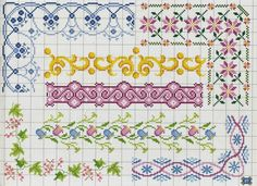 Decorative border patterns / chart for cross stitch, crochet, knitting, knotting, beading, weaving, pixel art, micro macrame, and other crafting projects.