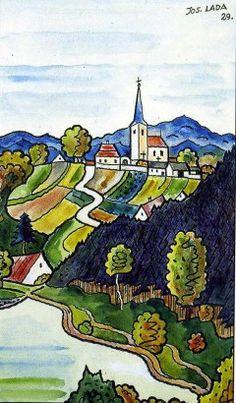 Josef Lada Podzim 1929 kresba tuší, malba akvarel