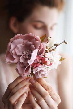 Blush hair comb pastel Bridal hair piece comb boho pink flower