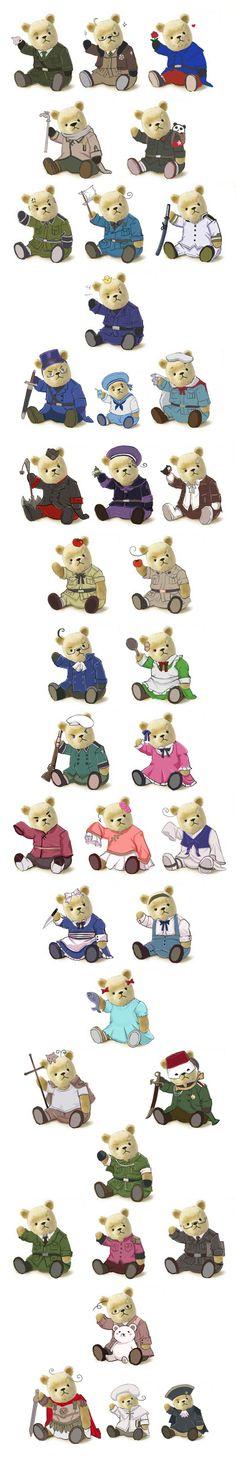 Hetalia: Teddy edition! - Art by 九號機 on Pixiv, found via Zerochan