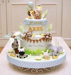 Jungle Birthday Cakes, Jungle Theme Cakes, Boys 1st Birthday Cake, Animal Birthday Cakes, Safari Cakes, Animal Cakes, Safari Baby Shower Cake, Idee Baby Shower, Baby Shower Cakes