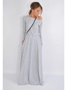 Maxi sukienka wykonana z cienkiej dzianiny. Rękaw długi. W pasie guma. Po bokach kieszenie. Cold Shoulder Dress, Dresses, Fashion, Vestidos, Moda, Fashion Styles, Dress, Fashion Illustrations, Gown