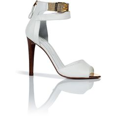 SERGIO ROSSI White And Gold Ankle Sandals ❤ liked on Polyvore