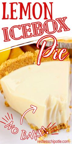 Sweetie Pies Recipes, Easy Tart Recipes, Box Cake Recipes, Lemon Recipes, Sweet Recipes, Easy Lemon Icebox Pie, No Bake Lemon Pie, Lemon Pie Recipe Condensed Milk, Thanksgiving Food List